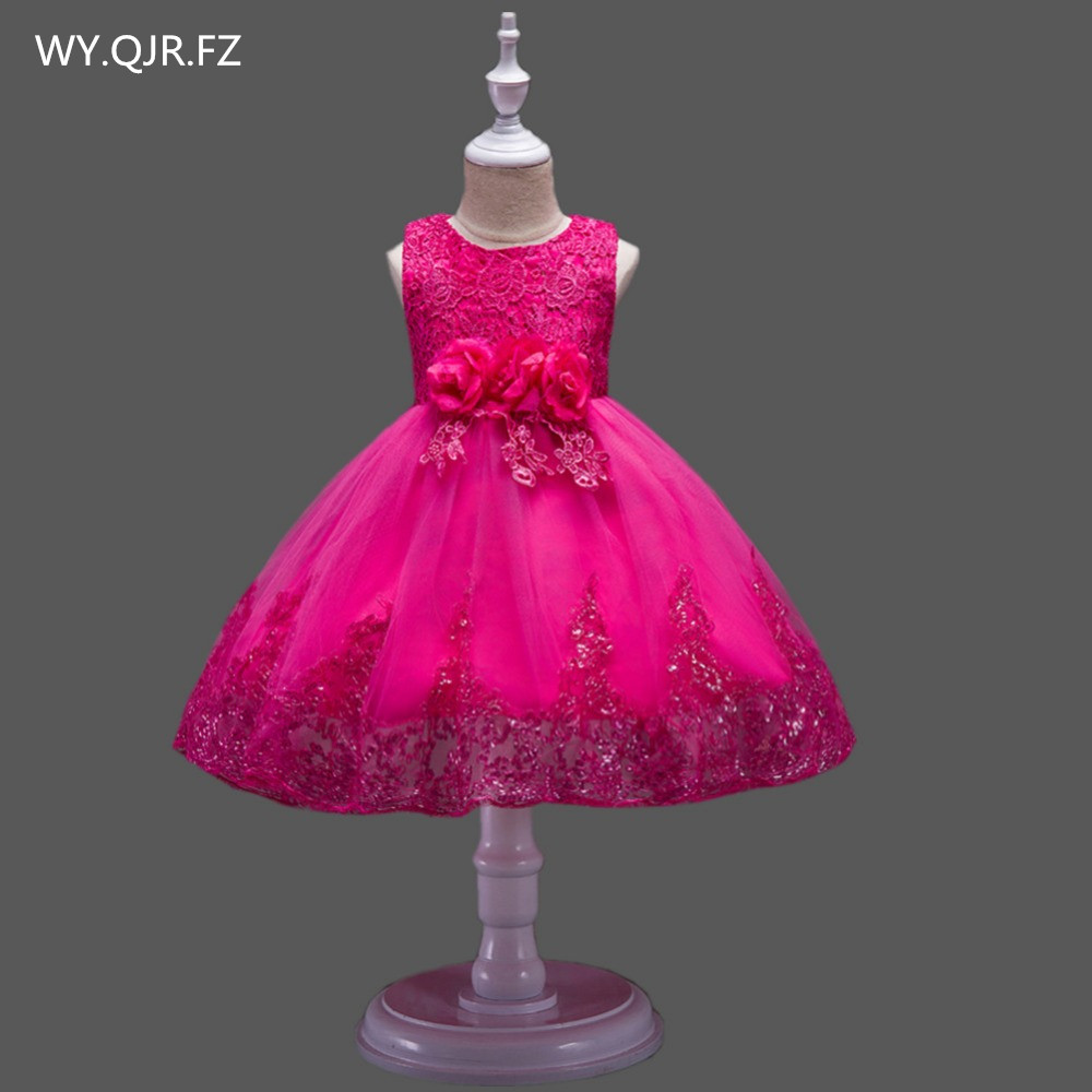 BH575M#Ball Gown rose   Flower     girl     dress   lace performance Small host costumes Children's garments cheap wholesale   dress   in China