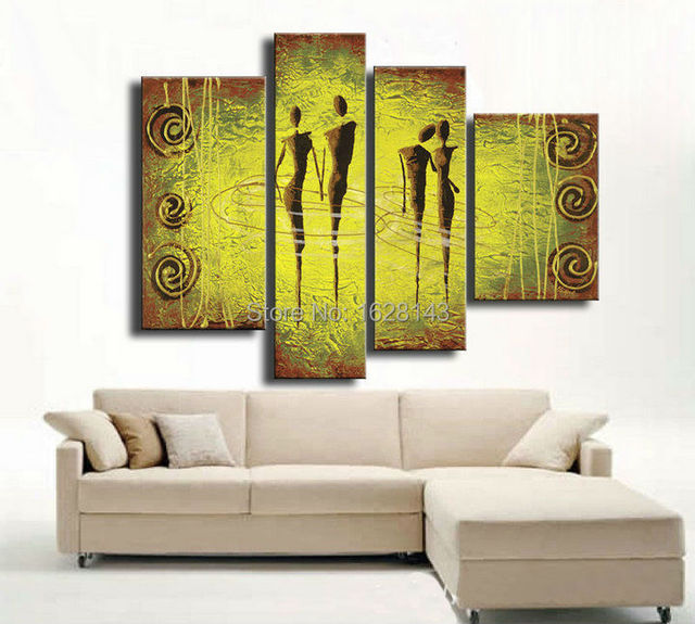 Top quality modern abstract wall oil painting yellow green wall ...