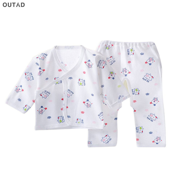 OUTAD Infant Suit Comfortable Newborn Clothing Soft Pure Cotton Underwear Baby Clothing Set Suitable For 0-3 Months All Seasons