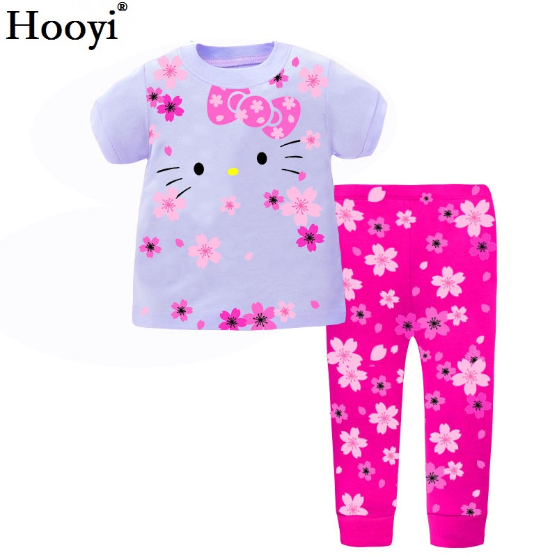 Hooyi Dog Baby Girls Pajamas Suits 2 3 4 5 6 7 years Children Clothes Sets Girl Clothes sets T-Shirts Pant Sleepwear 100% Cotton 3