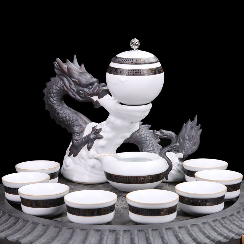 11PCS/Lot Creative Ceramic Porcelain Automatic Tea Set Office Art Cha Hai Handmade Teacup With Fair Cup Gaiwan Dragon Base Kit