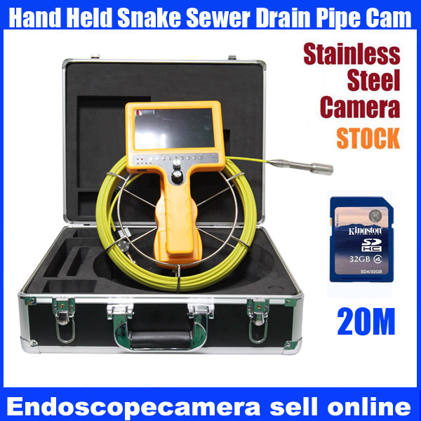 20M-30M waterproof Drain Sewer Inspection Video Camera,Industrial video Endoscope camera,Pipe video Borescope camera with DVR wp71 30m cable industrial video snake endoscope borescope camera 7 lcd waterproof pipeline drain sewer inspection camera system