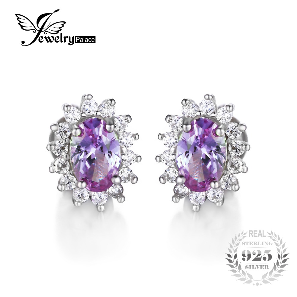 JewelryPalace Oval 2 5ct Alexandrite Sapphire Stud Earrings For Women 925 Sterling Silver Princess Diana William