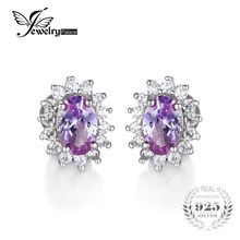 JewelryPalace Oval 2.5ct Alexandrite Sapphire Stud Earrings For Women 925 Sterling Silver Princess Diana William Fine Jewelry