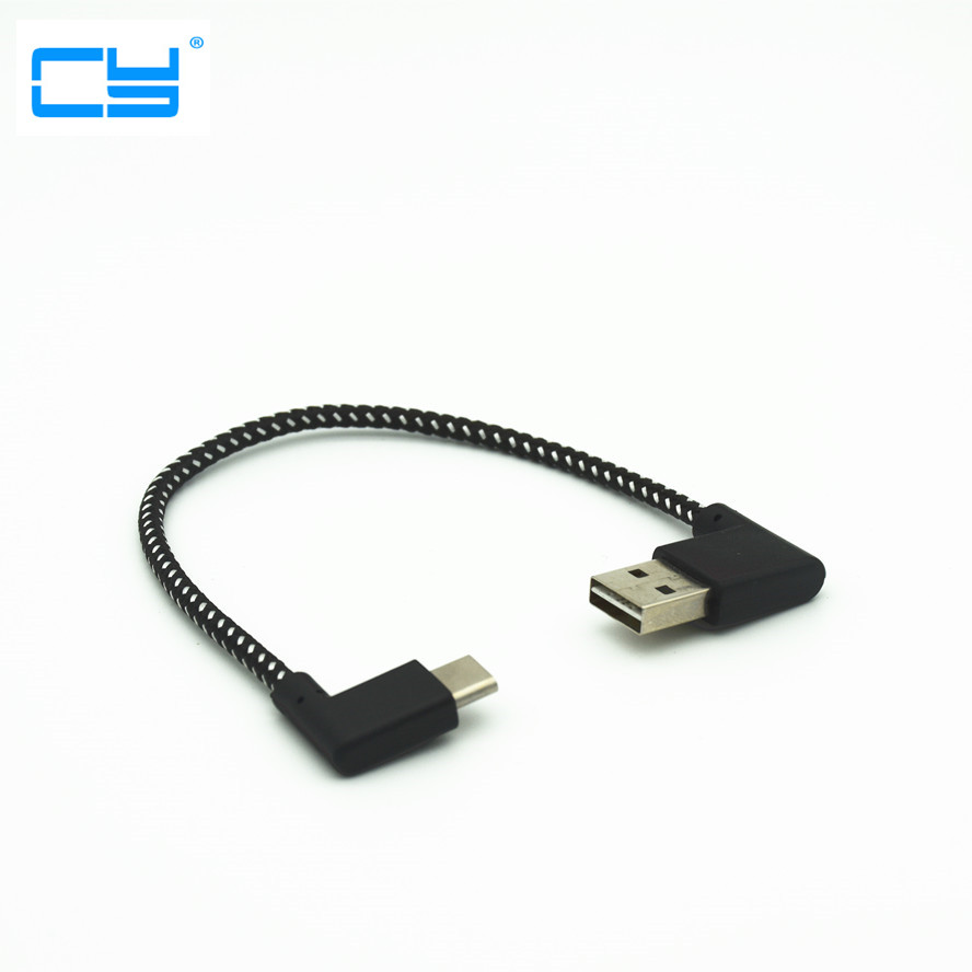 USB 2.0 Male To Left Angle Type-c USB 3.1 Male Cable Reversible Left Right Angled Double 90 Degree Elbow Data Power Cable 20CM
