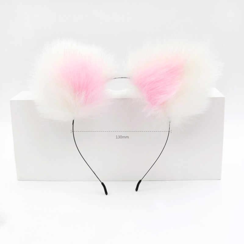 Розовые повязки на голову с милыми ушками и лисьим хвостом, металлическая Анальная пробка, эротические аксессуары для косплея, взрослые секс-игрушки для пар