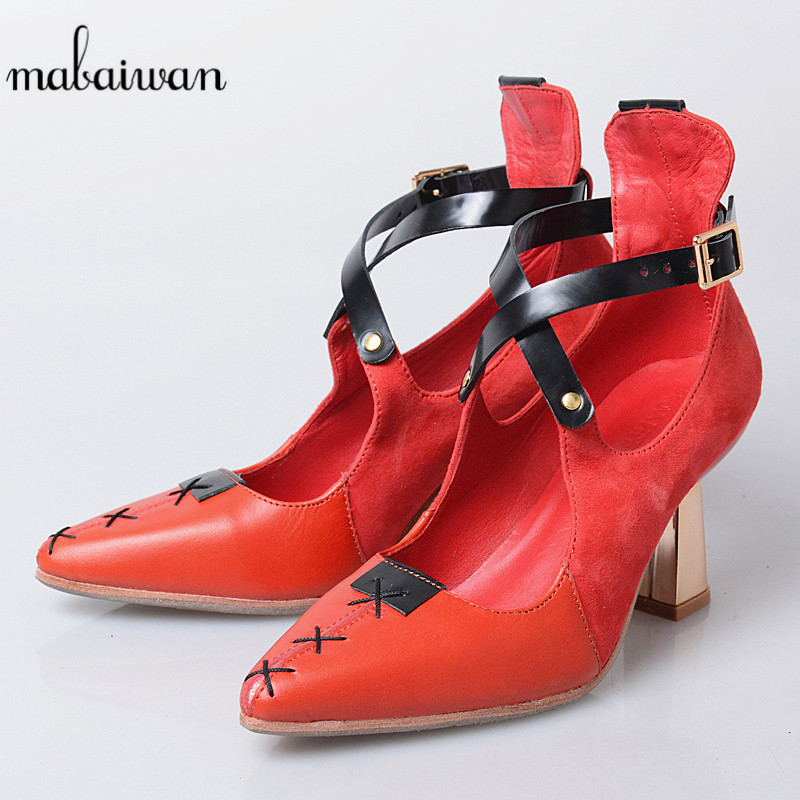 Mabaiwan New Fashion Red Women Shoes Summer Sandals Genuine Leather Zapatos Mujer Casual Shoes Woman Pumps Feminino Ankle Boots new women sandals low heel wedges summer casual single shoes woman sandal fashion soft sandals free shipping