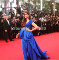 Red Carpet Dresses 2017 Sheath V-neck Short Sleeves Royal Blue Chiffon Pleated Long Famous Imitation Celebrity Dresses