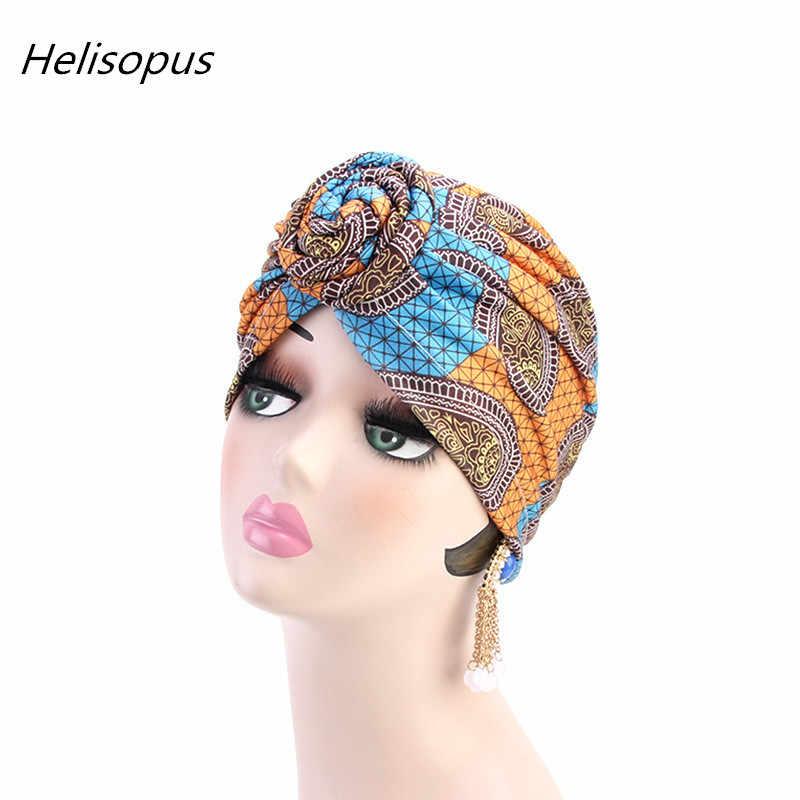 Helisopus African Pattern Twist Knotted Muslim Turban Women India Hat Hair Loss Bandana Head Wraps Chemo Cap Hair Accessories
