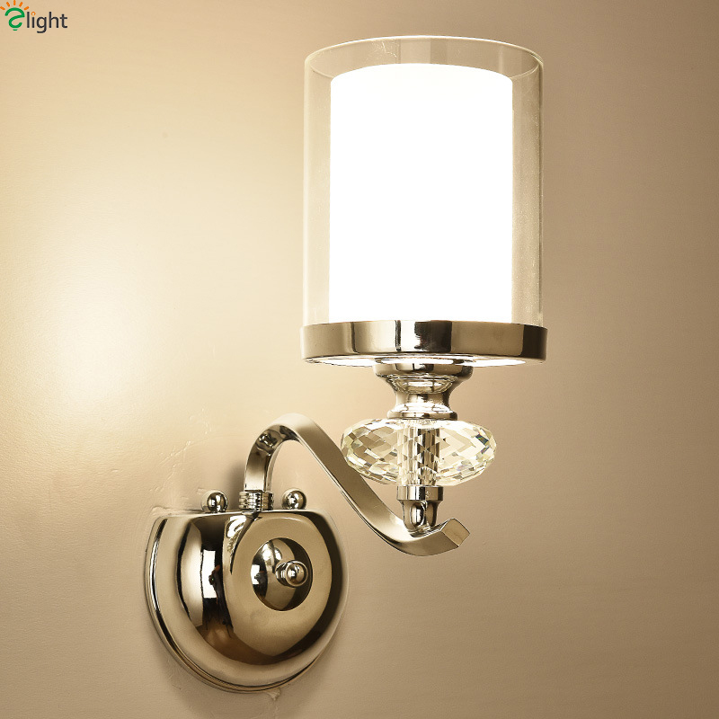 Modern Chrome Metal Led Wall Lights Lustre Crystal Glass Bedroom Led Wall Lamp Fixtures Living Room Led Wall Light Wall Sconce new design nature white 2heads 6w 30cm led modern crystal wall lights lamp sconce factory wholesale led lightings