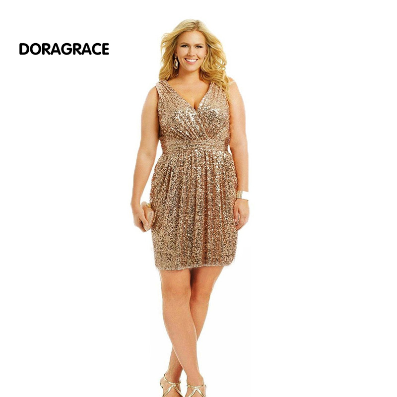 Doragrace Custom Made Plus Size   Cocktail     Dresses   Sequins Short Party   Dress   For Special Occasion vestido de festa curto