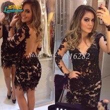 Vestido de festa curto Sexy Gerade V-ausschnitt Abendkleid 2016 Robe de kleid mit Applikationen abend party Kleider durchsichtig zurück