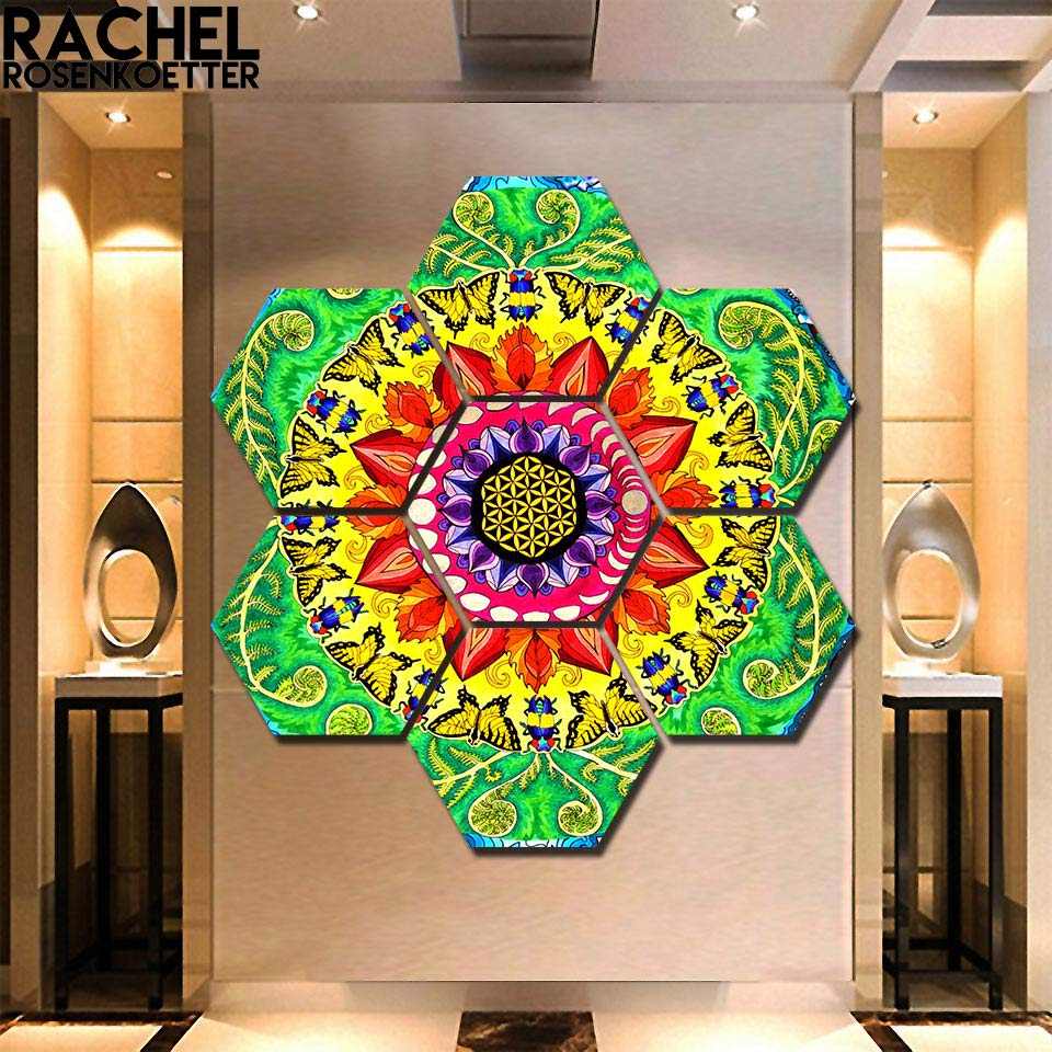 Samsara Mandala Rectangle Print By Rachel Rosenkoetter 7 Pieces Hexagon Flower Painting Wall Art Picture Colorful Painting Painting Calligraphy Aliexpress