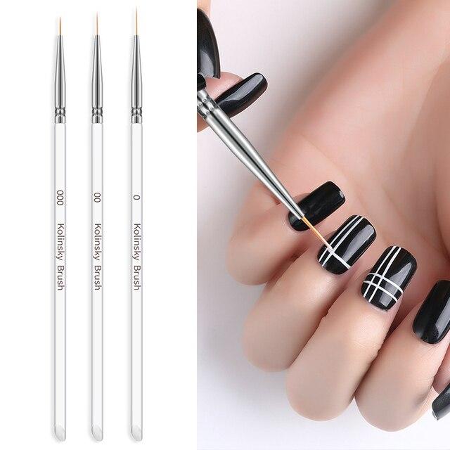 3Pcs/set Kolinsky Nail Art Brush Crystal Acrylic Thin Liner Drawing Pen Painting Stripes Flower 2 side Nail Art Manicure Tools