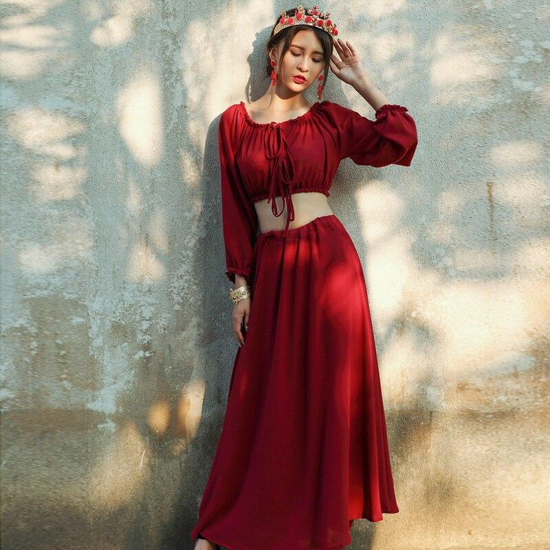2019 Sommer Frauen 2 Zweiteilige Anzug Kleid Vintage Chiffon - Damenbekleidung