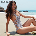 TAUPIN AM backless striped bodycon bodysuit top lace up Bandage sexy bodysuit jumpers and rompers Women jumpsuit summer