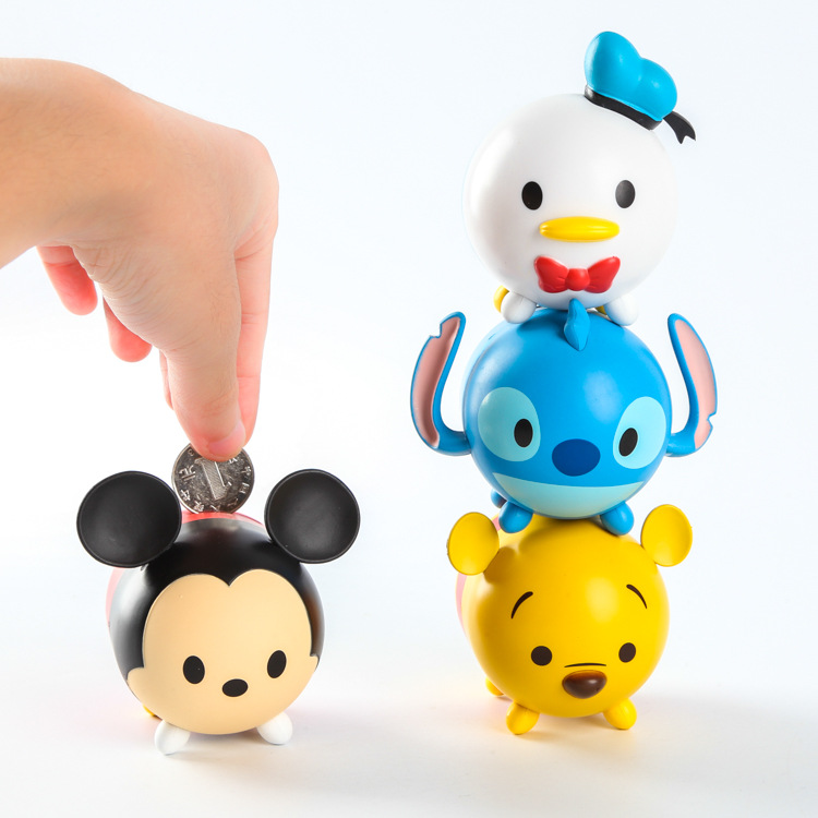 4 pcsTsum Tsum mini set toys Anime Minnie  Mickey mouse Winnie Stitch piggy bank cute cartoon model doll for gifts free shipping