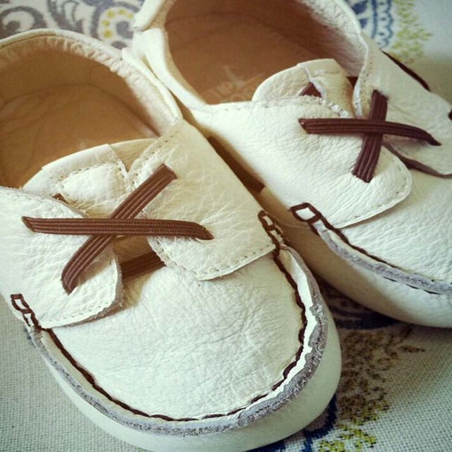 BBK 16 TTJ Baby Shoes Genuine Leather Soft bottom Toddler shoes White & Brown baby girl shoes Handmade Skid baby boy shoes kids