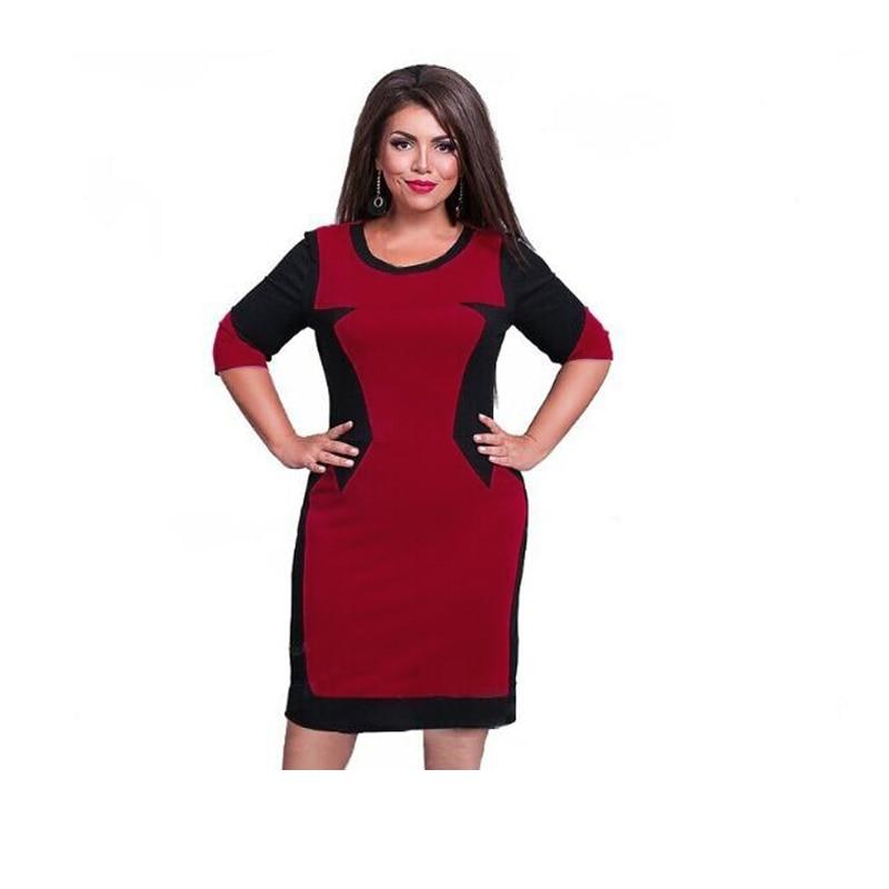 2017 marca mujer dress vestidos patchwork de gran tamaño 6xl casual o cuello ves