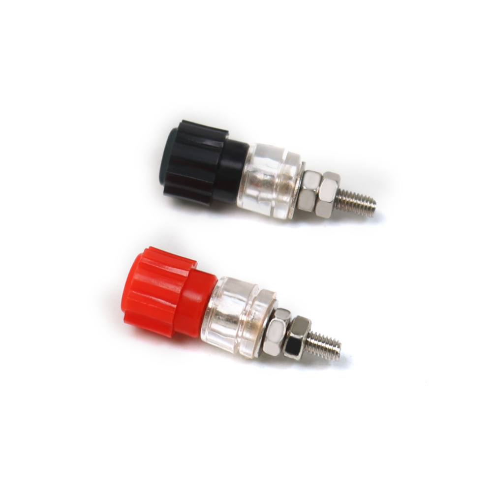 25 Pairs Color red black Newest JS-900A 3mm Banana Plug Socket Connector Terminal for the speaker input port connection plug audio speaker cable wire 4mm banana plug connector adapter black red 5 pairs