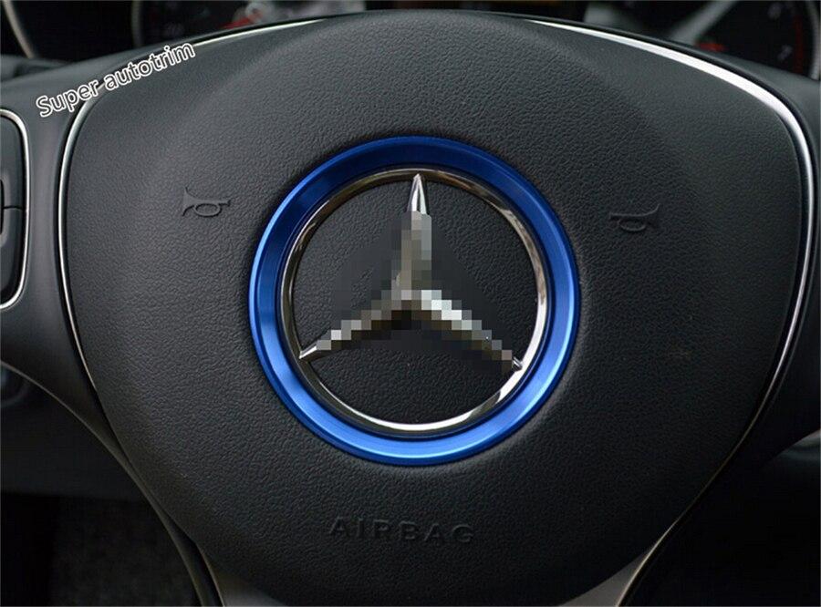 For Mercedes Benz C CLASS W205 2014 - 2017 More Fashion Metal Car Steering Wheel Center Decoration Ring Frame Cover Trim 1 Pcs aluminum alloy shift paddles fashion style car steering wheel decoration accessories for e90 e3 e92 m3 e93 m3