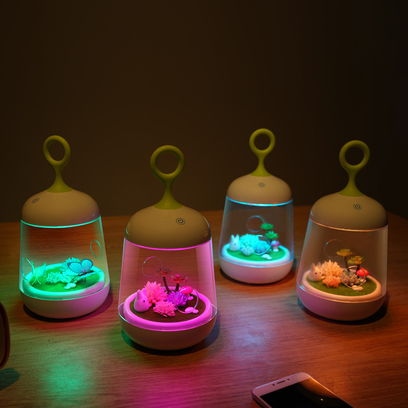 Lovely LED Night Light Micro Landscape Plant Pot DIY Rechargeable Dimmable Night Lamp Kid Gift Bedroom Nursery Home Party Light