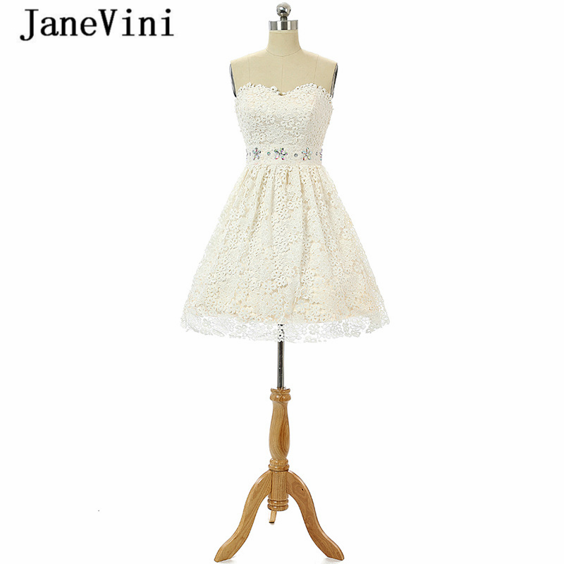 JaneVini 2018 Elegant Lace Crystal Short   Bridesmaid     Dresses   A Line Sweetheart Backless Ivory Prom Gowns Vestidos Para Formatura