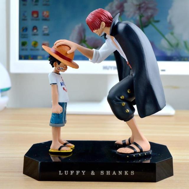 Uma ação Pedaço figuras Anime Chapéu de Palha Luffy Shanks red hair ornaments presente boneca brinquedos 17.5 cm modelos de criança luffy coleção pvc