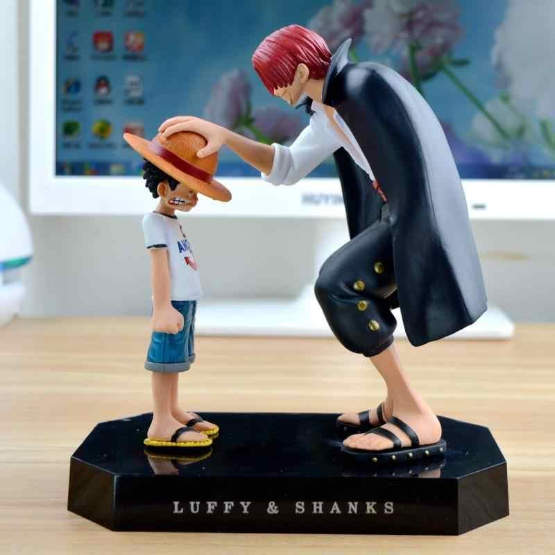 Uma peça figuras de ação anime palha chapéu luffy shanks vermelho ornamentos de cabelo presente boneca brinquedos 17.5cm criança luffy modelos pvc coleção