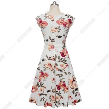 Women Elegant Casual Party Floral Printed Swing sundress Short sleeve 2