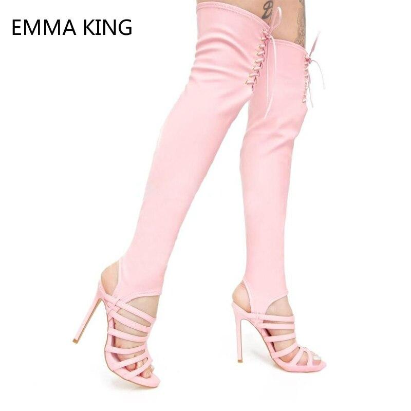 ae7e24f5377ae Pink Cuir Chaussures À De Soirée Lacets Sandales Longues En Talon Haut  Nouveau Stiletto Extensibles Bottines Sexy Femmes D été ...