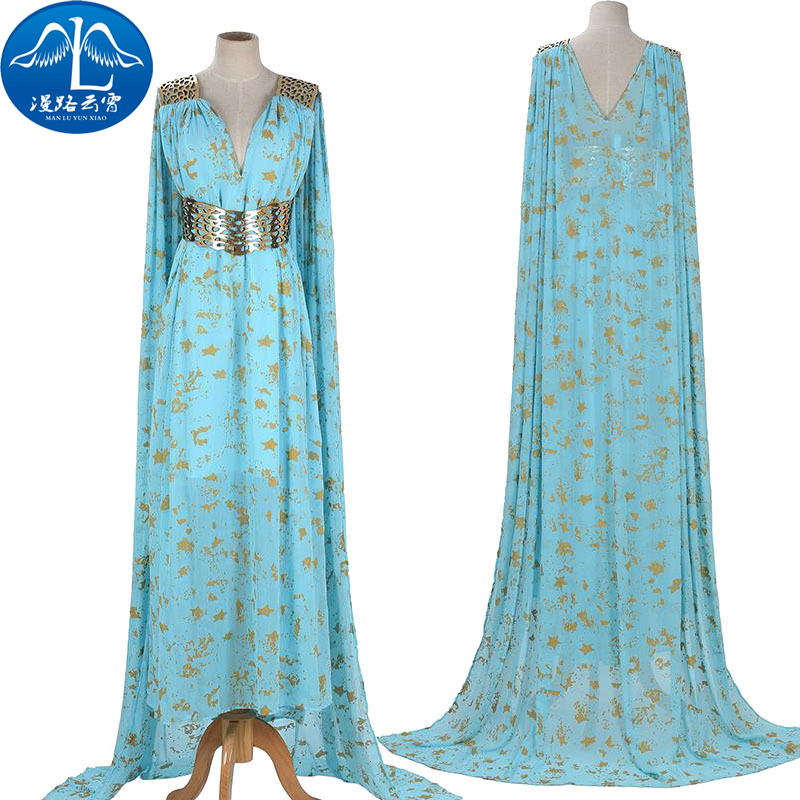 Beautiful Game of Thrones Daenerys Targaryen Cosplay Costumes Dress Full Suit High Quality Cyan Custom Made Any Size