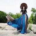 2017, Лето, Новый длина пола длинная юбка женская шифон плиссированные юбки цветочные юбки