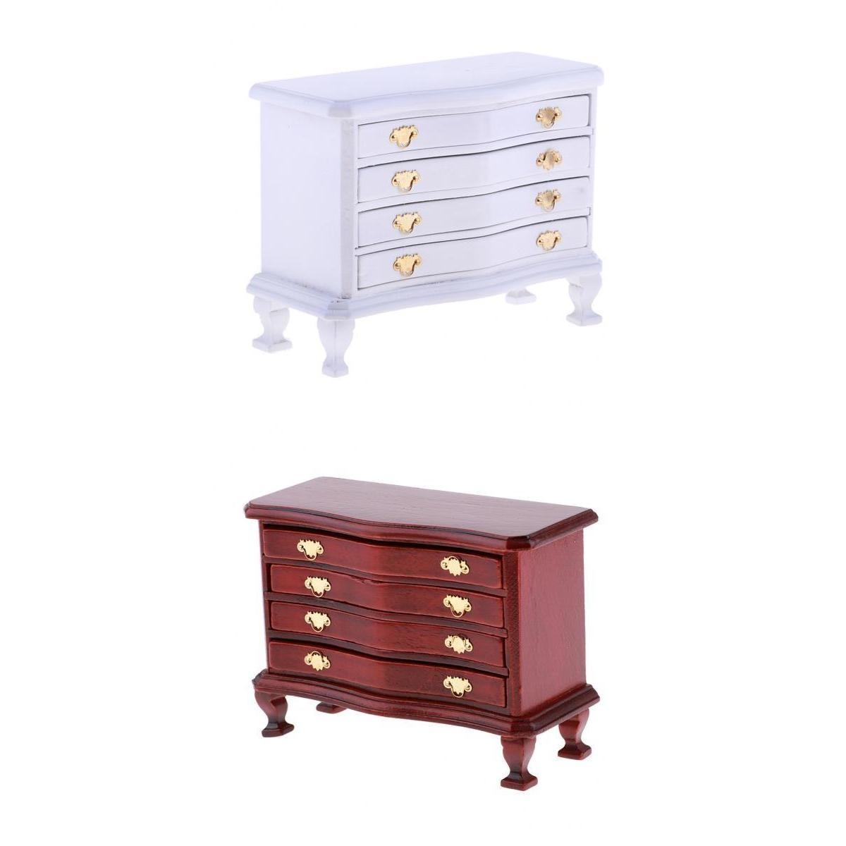 1//12 Miniature Wooden Dresser 4-Drawer Cabinet Dolls House Life Scenes Decor