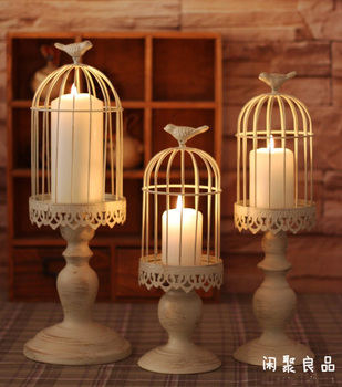 fashion birdcage gold white metal candle stand candleholder candle stick for home decoration 2176