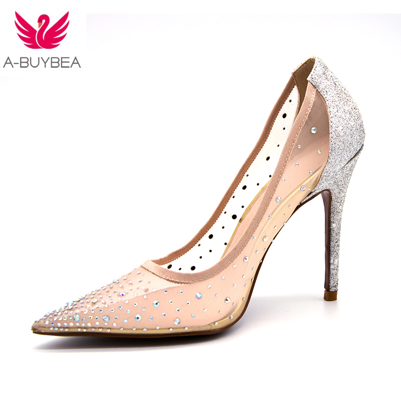 2018 summer New Glitter Rhinestone High Heels Cinderella Shoes Women Pumps Pointed toe Woman Crystal Wedding Shoes Zapatos Mujer