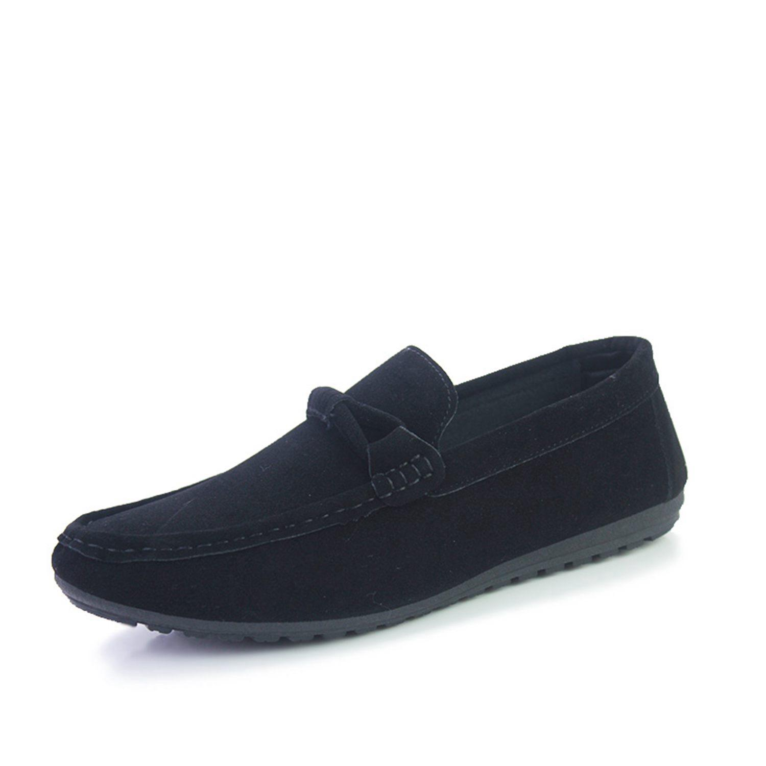 ABDB-Suede Leather Men Flats 2018 New Soft Men Casual Shoes High Quality Men Loafers Flats Gommino Driving Shoes Black 44