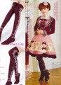 Princesa dulce lolita medias laciness arco de flores de algodón borgoña medias cos cosplay sobre la rodilla medias hasta la rodilla