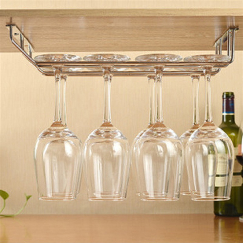 Wine Cup Wine Glass Holder Hanging Drinking Glasses Stemware Rack Under Cabinet Storage Organizer Double Row