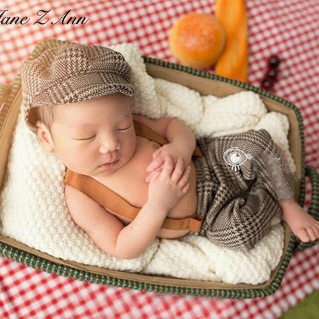 Jane z ann infant baby boy little gentleman outfit newborn photography props newborn plaid costume baby