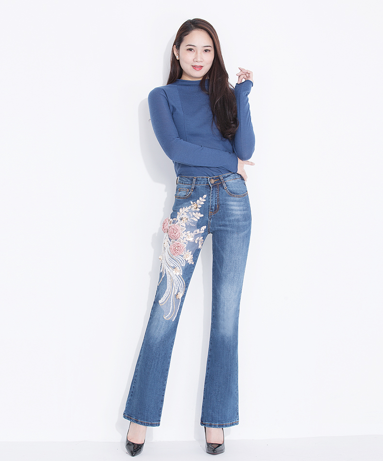 KSTUN Jeans Women High Waist Embroidery Boot Cut Floral Lace Sequin Stretch Three-dimensional