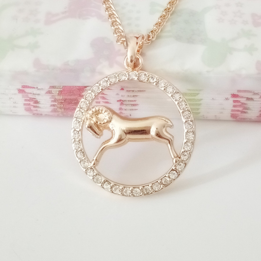1 Piece Unisex Constellation Signs Jewelry Rose Gold Color Women Men Jewelry Round 6 Models Zodiac Sign Necklace Pendants