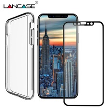 Фотография LANCASE Cover For iPhone X Case PC+TPU Front Back Full Cover Screen Protector Case For iPhone X 10 8 7 6 PLUS Phone Cases Glass