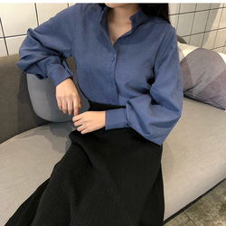 2018 new spring women chic vintage stand collar blouse elegant solid color lantern sleeve top female casual work shirts tops 5