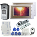 """Home New Wired 7"""" TFT Video Door Phone Intercom Kit 2 Golden Monitors + 1 RFID Access Camera + 180kg Magnetic Lock FREE SHIPPING"""