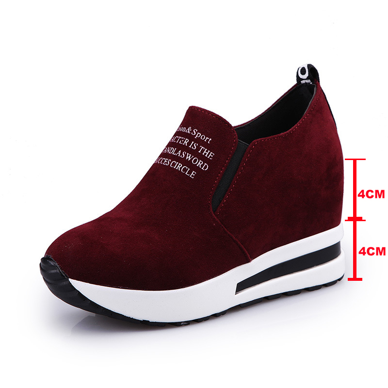 Image 4 - 2019 Flock High Heel Lady Casual Shoes Wedges Women Sneakers Leisure Platform Shoes Breathable Increasing Slip on Footwear-in Women's Pumps from Shoes