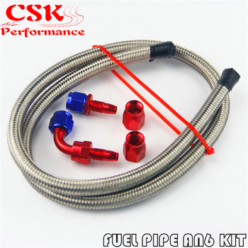 1M 3FT AN6 Nylon Stainess Steel Braided Oil Fuel Hose + 90 Deg & Straight Swivel Fittings fittings and braided hose