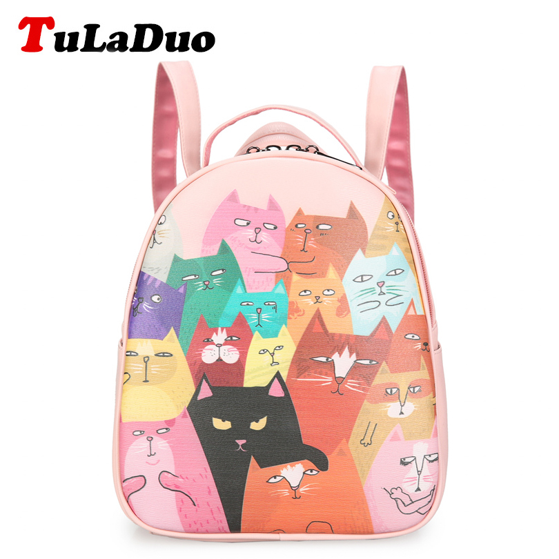 Cute Cat Backpack Women Rucksack College School Bags For Teenagers Girls 2017 Designer Fashion Cartoon Printing Backpacks Small