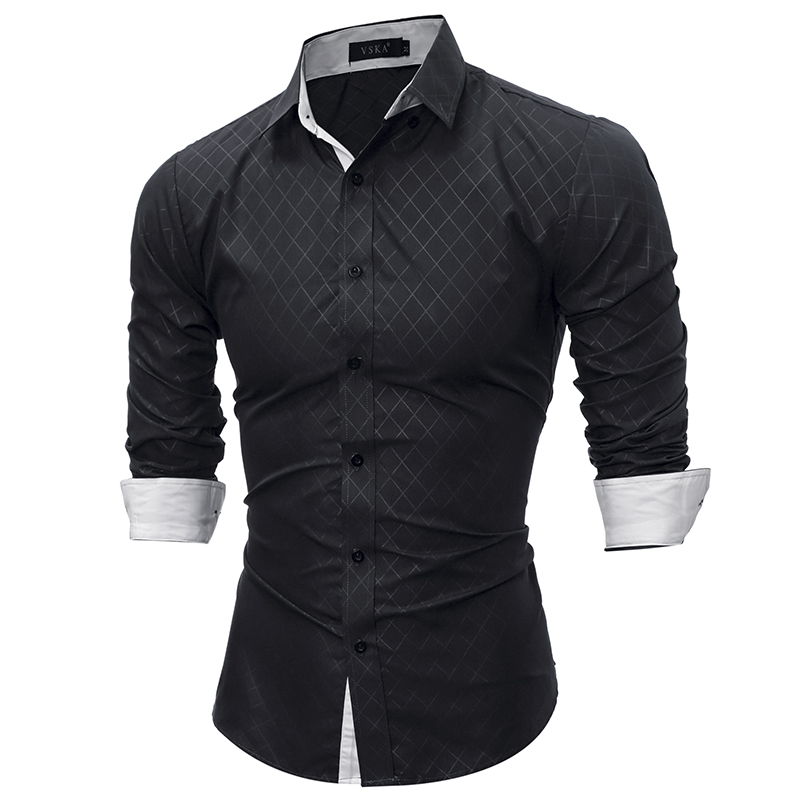 2018 Marca de moda camisa de verano Plaid hombres Slim Fit camisa de manga larga Casual Social camisa masculina camisa masculina de alta calidad YJ