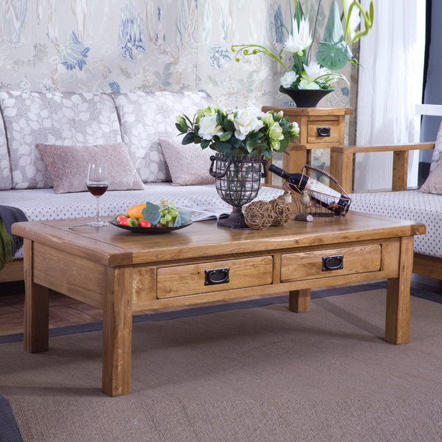 Solid Wood Coffee Table Four Drawer Coffee Table Rustic